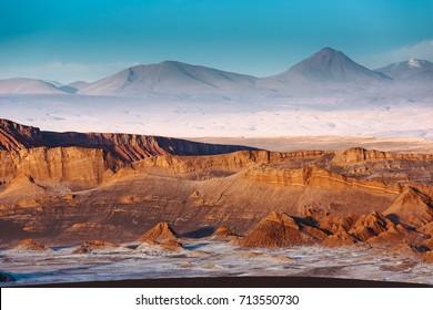 Moon Valley in Atacama Desert at sunset, Chile