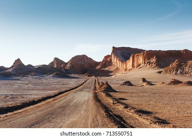 Moon Valley in Atacama Desert at sunset, Chile