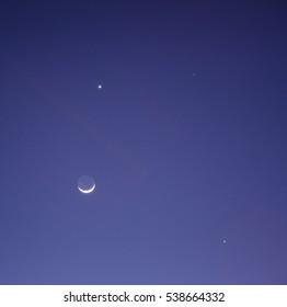Moon Venus Conjunction Images, Stock Photos & Vectors