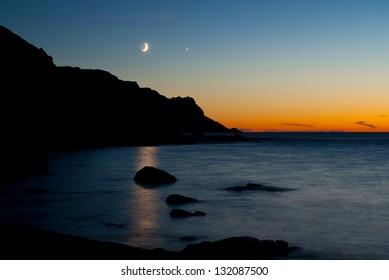 Moon, Venus and Mars at Torro del Porticciolo close to Alghero