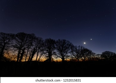 The moon and venus shine bright in the early morning dawn just above the horizon and a row of trees Oakley Hampshire