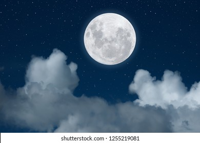 Moon and white cloud on blue sky background.