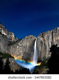 Moonbow over Yosemite Falls, Yosemite National Park, California
