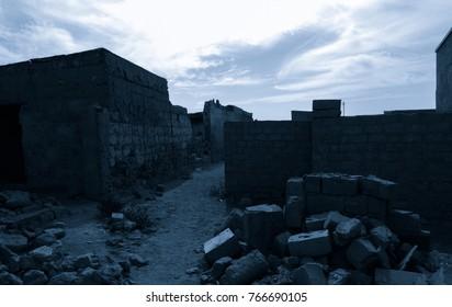 Moonlight colored ghost city Al Jazirah Al Hamra. Ras al-Khaimah. The oldest town in United Arab Emirates. Arabian peninsula