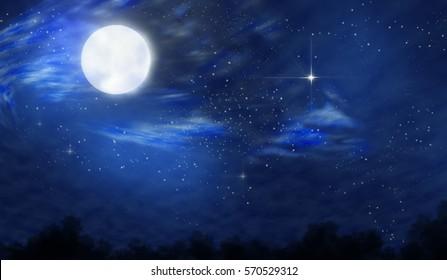 Moonlight landscape. Starry night. Twilight.