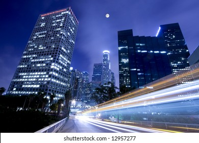 Moonlight over downtown Los Angeles
