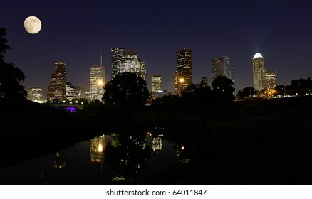 Moonlight over Houston Skyline reflecting in the Buffalo Bayou