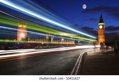 Moonlight over London and Big Ben
