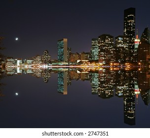 Moonlight over midtown Manhattan