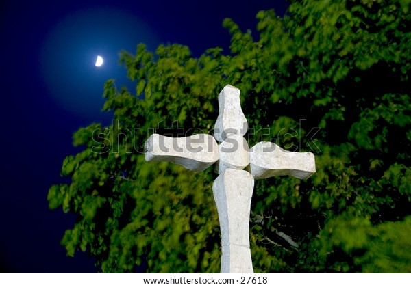 Moonlight over an tree and a religious symbol