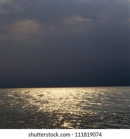 Moonlight reflected on sea