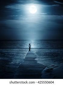 Moonlight and sea