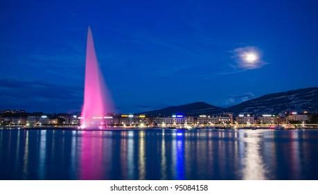 Moonlit Lake Geneva, Switzerland