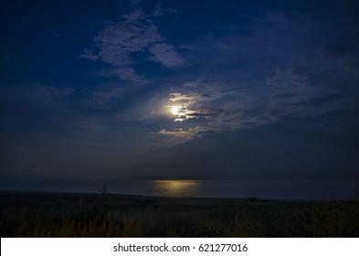 Moonlit night on the lake