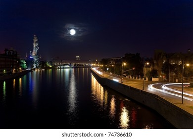 Moonlit night over the Moscow city