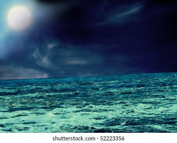 Moonlit Night. Storm at sea. Abstract picture.
