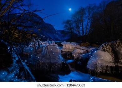 Moonlit Norwegian landscape