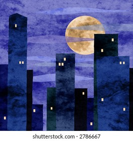 moonlit town collage