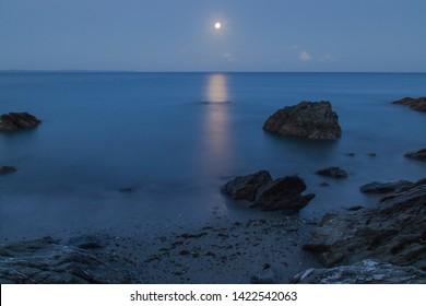 Moonrise at Hannafore Looe Cornwall UK