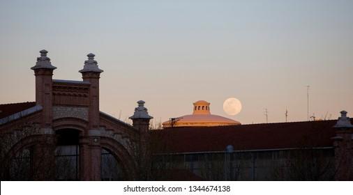 Moonrise on the old abattoirs of madrid, Spain