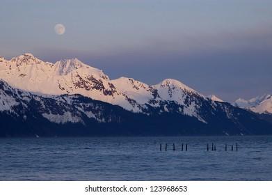 Moonrise over Alaskan Mountain Range