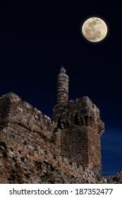 Moonrise over David's tower (citadel) - the old city of Jerusalem (Israel)