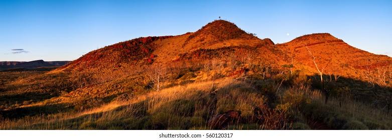Moonrise over Mount Bruce located in Karijini National Park, North Western Australia, Australia.
