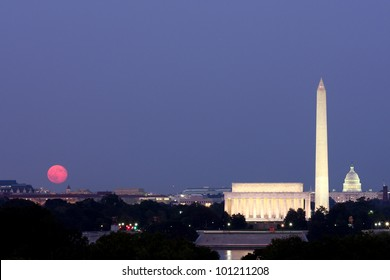 Moonrise over the National Mall in Washington, DC.