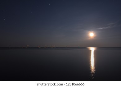 Moonrise over the Potomac river in Colonial Beach, Virginia.