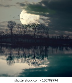 Moonrise over spooky lake