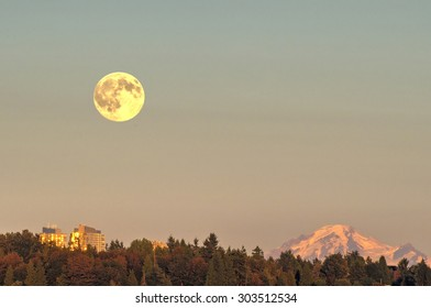 Moonrise at sunset time