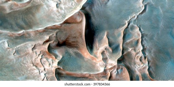 moonscape, Surrealistic wildlife camouflaging on the sand of the seabed,abstract composition of dune landscape, abstract photography of the deserts of Africa from the air, bird's eye view,