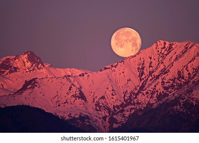 Moonset at dawn, with the snowy mountains reddened by the first rays of the sun