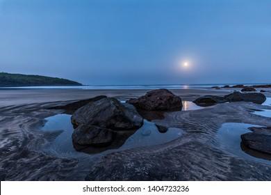 Moonset at Hedvi Beach, Maharashtra