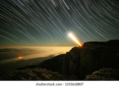 Moonset, meteor and startrail in Montsec, Pyrenees, Lleida, Spain
