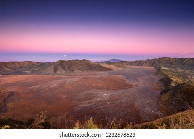 Moonset over Bromo Caldera from B29 Peak, Bromo Tengger Semeru National Park