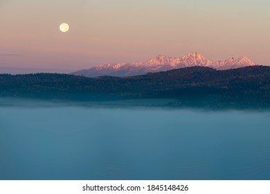 Moonset over the High Tatras