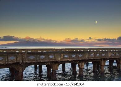Moonset over Lanai at Mala Pier on Maui.