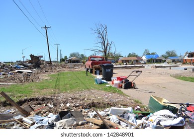MOORE, OK - JUNE 9: Devastation from the EF-5 tornado on June 9, 2013 in Moore, Oklahoma. The tornado hit May 20, 2013 and left a trail of damage nine miles wide.