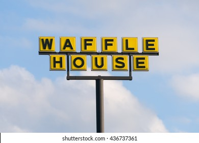 MOORE, OK/USA - MAY 20, 2016: Waffle House exterior sign and logo. Waffle House, Inc., is a restaurant chain with more than 2,100 locations in 25 states in the United States.