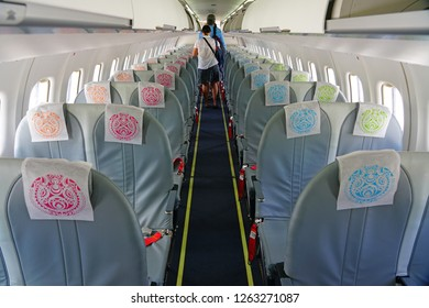 MOOREA, FRENCH POLYNESIA -2 DEC 2018- View inside the cabin of a regional ATR jet from Air Tahiti (VT) in French Polynesia. Air Tahiti celebrated its 100th anniversary in 2018.