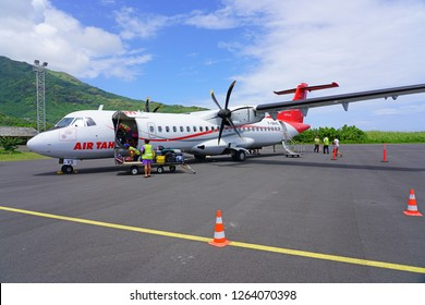 MOOREA, FRENCH POLYNESIA -2 DEC 2018- View of an ATR regional jet airplane from the Air Tahiti airline (VT) at the Aeroport de Moorea Temae airport (MOZ), across from Tahiti in French Polynesia.