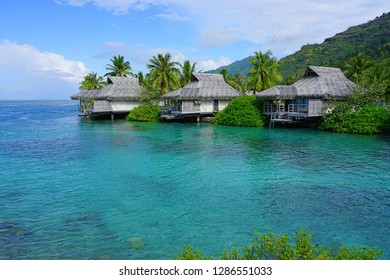 MOOREA, FRENCH POLYNESIA -30 NOV 2018- View of the Intercontinental Moorea Lagoon Resort and Spa Moorea, a luxury hotel with overwater bungalows on the lagoon in  Moorea, French Polynesia.