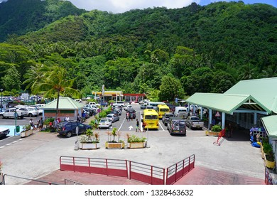 MOOREA, FRENCH POLYNESIA -30 NOV 2018- View of the Gare Maritime de Vaiare Ferry Terminal, a building where the ferries (Terevau, Aremiti) arrive in Moorea from Papeete, Tahiti.