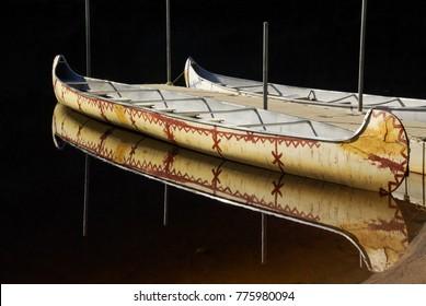 Moored Birch Bark Canoe in Evening Light