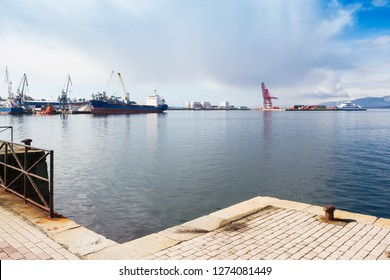 Moored Boats at the dock of Vilagarcia de Arousa commercial port