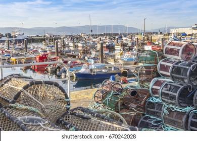Moored boats on Bueu fishing harbor