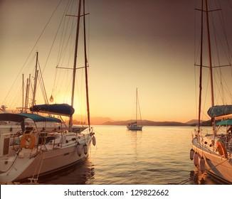 Moored boats in Poros harbor in Greece