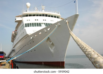 moored cruise ship at a port