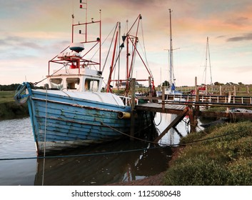 Moored fishing boats at Gibraltar Point, Skegness, Lincolnshire